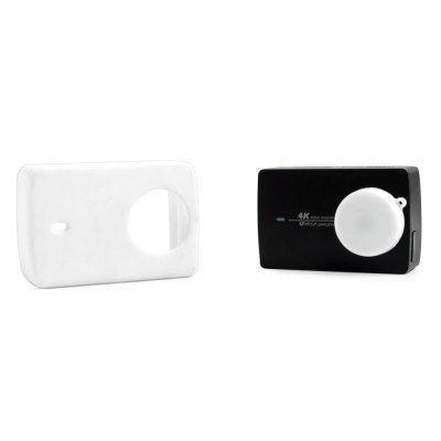Защитный кейс SMACO + крышка на объектив для  Xiaomi Yi 2 4k ( Силикон / Белый)