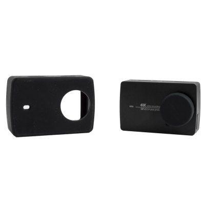 Защитный кейс SMACO + крышка на объектив для  Xiaomi Yi 2 4k ( Силикон / Черный )